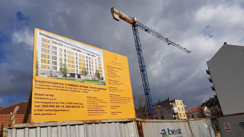 Građevinska tabla Permano doo. Nova gradilišta Novi Sad.