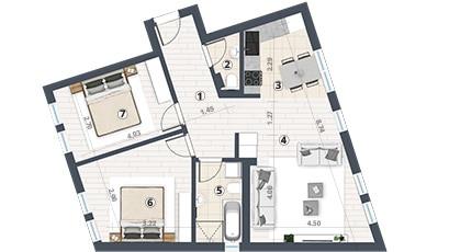 2d prikaz jednoiposobnog stana u prizemlju sa kotamaPermano