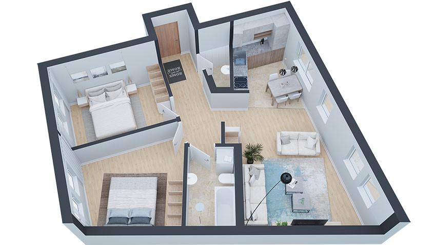 3d prikaz trosobnog stana u prizemlju Permano
